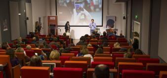 Benjamin Rey présente la startup Ilini lors du EdJobTech Day organisé par l'EM Lyon le 29 novembre 2018. //©Erwan Lemarie pour Educpros