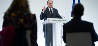 Le Premier ministre, Jean Castex, lors de la conférence de presse détaillant les conditions du reconfinement. //©Eric TSCHAEN/REA