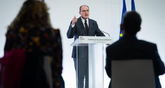 Le Premier ministre, Jean Castex, lors de la conférence de presse détaillant les conditions du reconfinement.