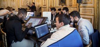 À l'occasion du  lancement de la grande école du numérique, l'Élysée a accueilli un hackathon, réunissant une soixantaine de jeunes issus de formations des métiers du numérique. //©RGA / R.E.A