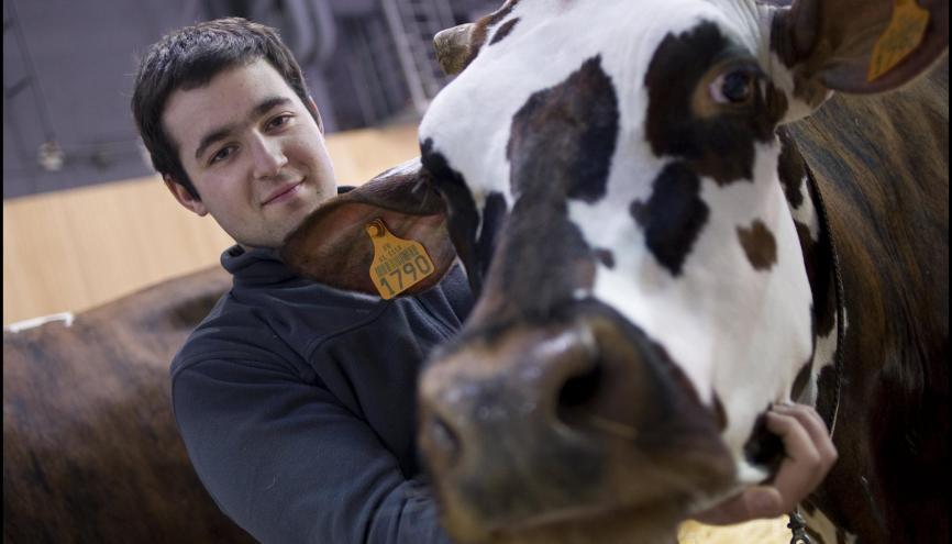 Florent Enjalbert, éleveur de vaches de race normande, au Salon international de l'agriculture. //©Xavier Popy / R.E.A