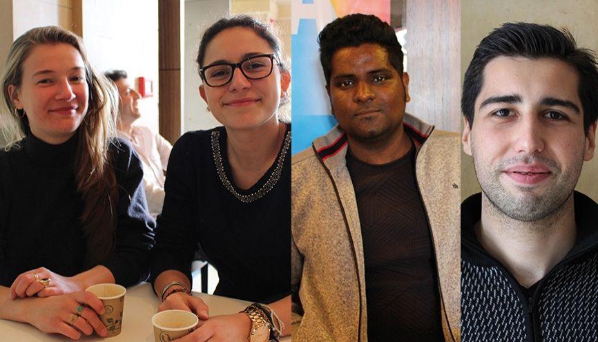 Marie, Tabea, Vijay et Can ont des avis partagés sur ce qui les attend à l'issue de la présidentielle en France. //©Nawelle Beouche et Laura Hubert