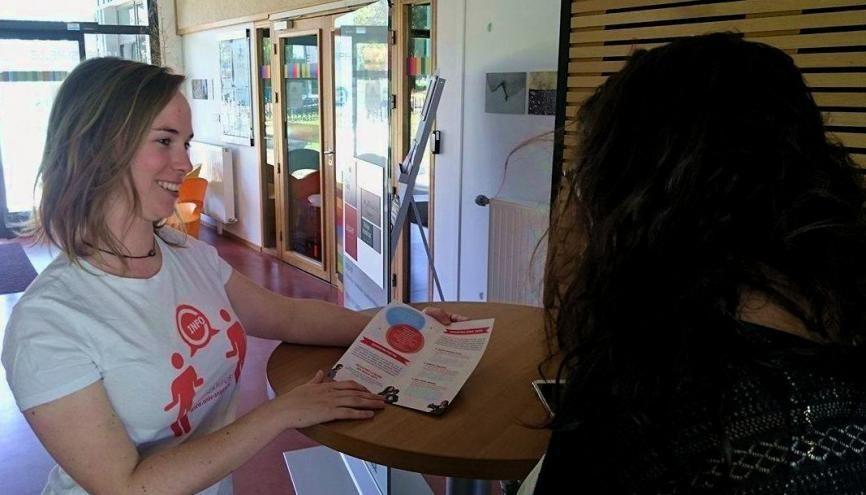 En début d'année scolaire, Hélène a été ambassadrice Infocampus à Angers pour accueillir les nouveaux étudiants et leur expliquer le fonctionnement des différents services de l'université. //©Photo fournie par le témoin
