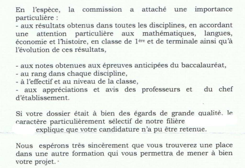 Extrait d'une réponse de motivation de refus jugée incomplète par le candidat //©Capture d'écran de l'Etudiant