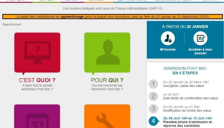 Verdict pour les candidats : le 8 juin à 14 h (première phase d'admission). //©capture d'écran du site APB
