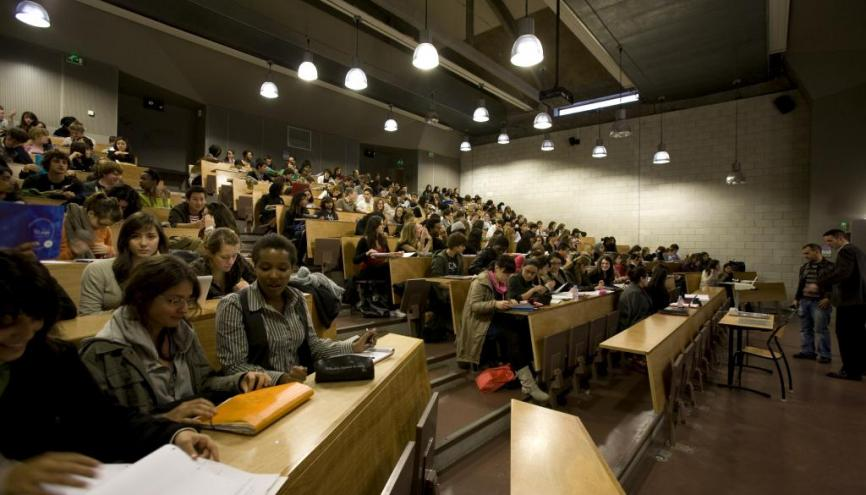 Amphithéâtre de l'université Paris Diderot, dans le bâtiment de la Halle aux farines. // © Hervé de Brus/direction de la communication/université Paris Diderot