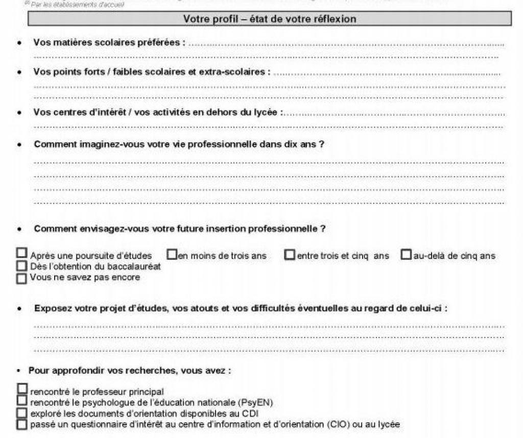 Exemple d'une fiche d'orientation donnée aux élèves de terminale //©Ministère de l'Éducation nationale