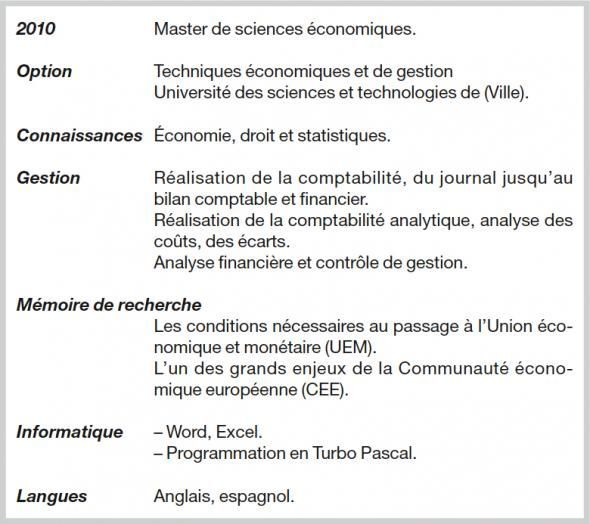 exemple cv formation