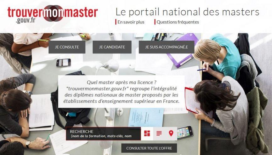 Le portail national des masters ouvre mercredi 1er février. //©Capture d'écran