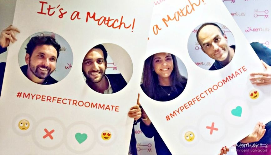 Lauren et Alex (au centre) et leurs développeurs, lors de la fête de lancement de Whoomies. //©Photo fournie par le témoin