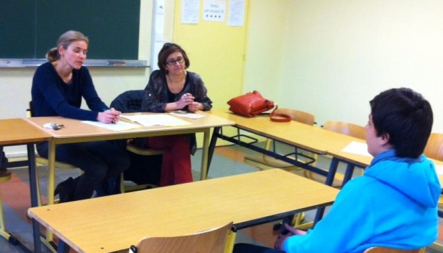 Une soutenance de stage, (ici au Collège Paul-Eluard de Chatillon), peut impressionner mais c'est, en fait, une conversation entre les professeurs et l'élève. //©Isabelle Dautresme