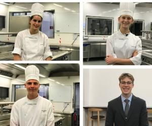 Louise (en haut à gauche), Anouk, Scott et Paul racontent leur rentrée d'apprenti en deuxième année de bac pro à l'école Ferrandi.