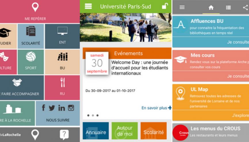 Lancée fin 2015, l'app de Paris-Sud permet de relier les étudiants aux principaux services de l'université. //©Capture d'écran