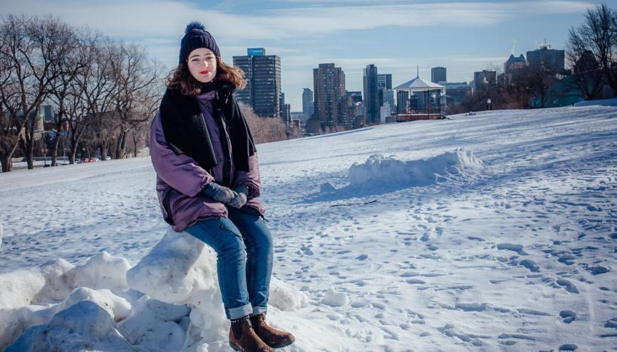 Sophie, en deuxième année à l'ENS de Lyon et en master 1 de musicologie à l'université de Lyon 2, réalise une année d'échange à Montréal. //©Valérian Mazataud pour l'Etudiant