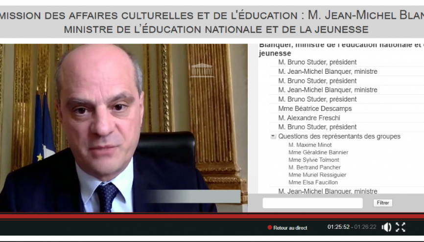 Le ministre de l'Éducation nationale, Jean-Michel Blanquer. //©videos.assemblee-nationale.fr