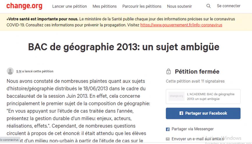 """En 2013, seules 11 personnes ont signé la première pétition du bac dénonçant l'ambiguïté d'un sujet d'histoire-géographie. //©Capture d""""écran change.org"""
