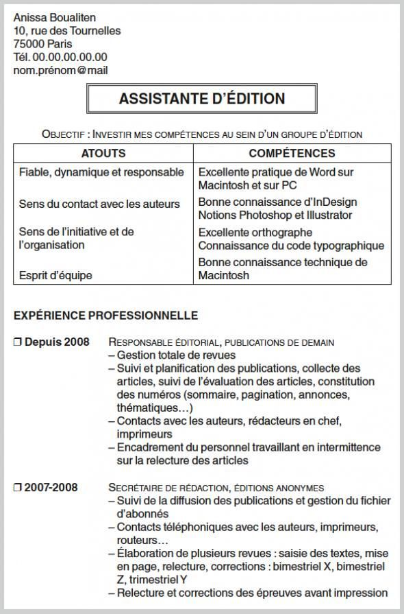 Exemple De Cv Secretaire D Edition