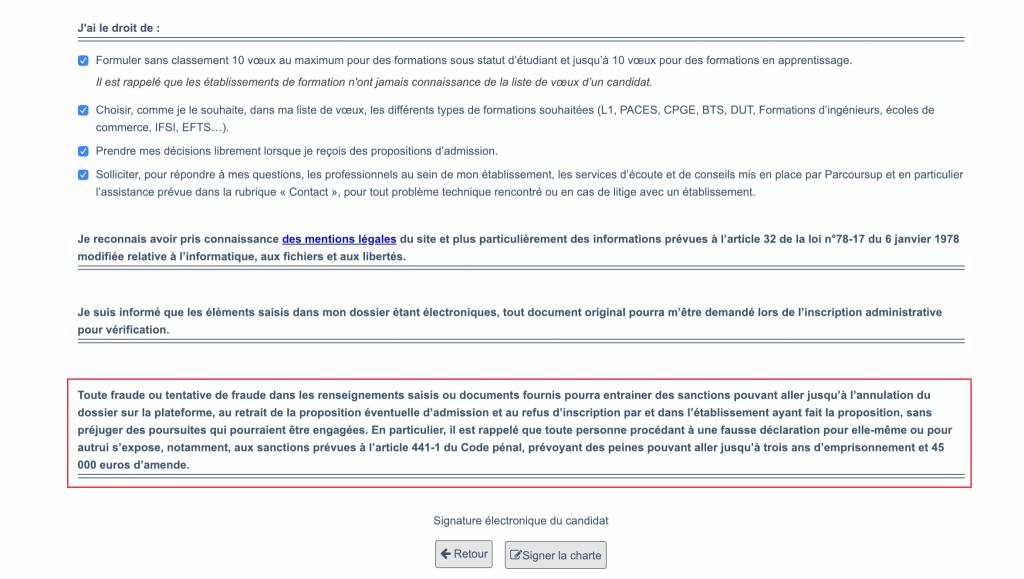 La charte de Parcoursup rappelle les sanctions en cas de fraude. //©Capture d'écran