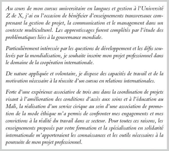 exemple lettre de motivation master 2 relations
