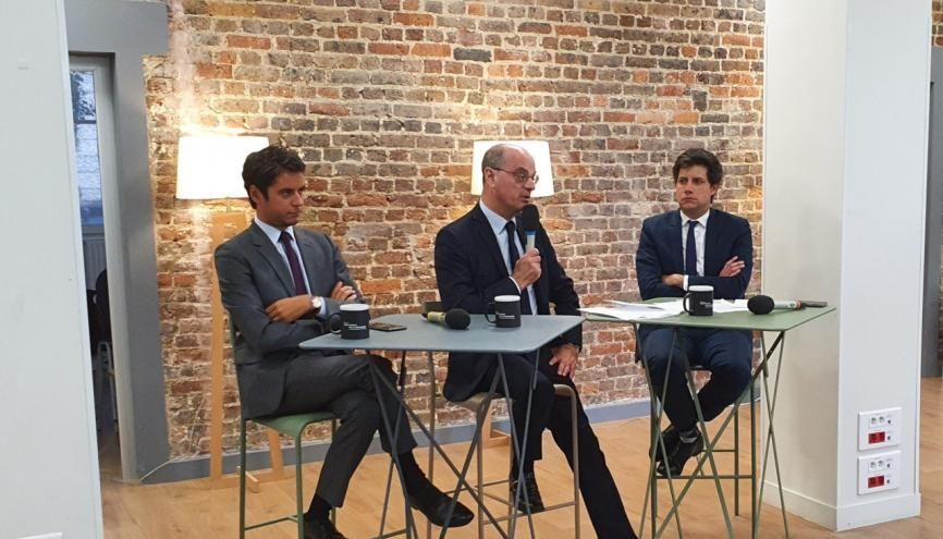 De gauche à droite : Gabriel Attal, Jean-Michel Blanquer et Julien Denormandie. //©Thibaut Cojean