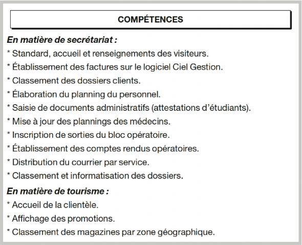 exemple cv domaine de competence
