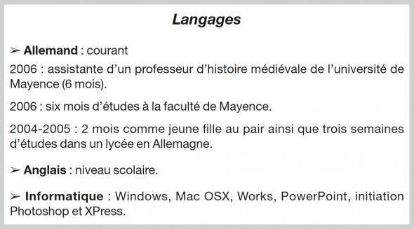 langues  logiciels informatiques   dans quelle rubrique de votre cv les mentionner