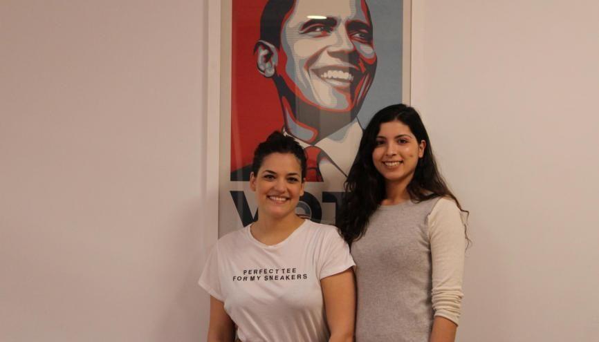 Éva Ben-Saadi et Cécilia Severi, rédactrices en chef adjointes du site Internet Nous Président. //©Nawelle Beouche pour l'Etudiant