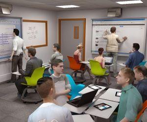 Une salle de classe du futur imaginée par SMART et Grenoble École de management.