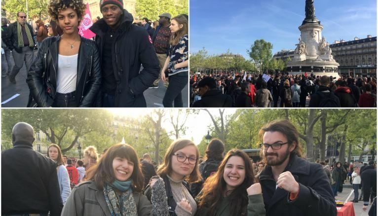 Annaëlle (en haut à gauche), Anna, Clémence, Sonia et Stelio (en bas), étudiants, place de la République à Paris.