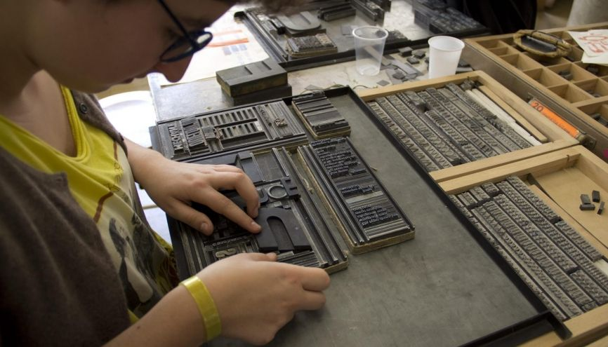 L'ENSAD compte 18 ateliers techniques. Ici l'atelier de typographie. //©Sophie Caron / Ensad
