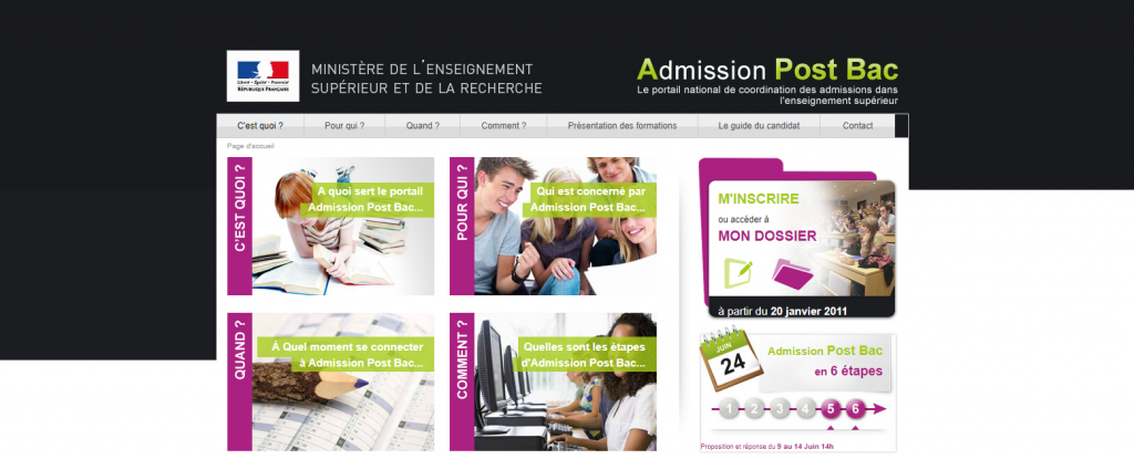 La page d'accueil d'Admission Post Bac, dispositif utilisé entre 2002 et 2017. // © Internet Archive wayback machine