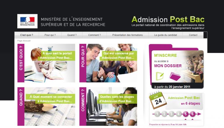 La page d'accueil d'Admission Post Bac, dispositif utilisé entre 2002 et 2017.