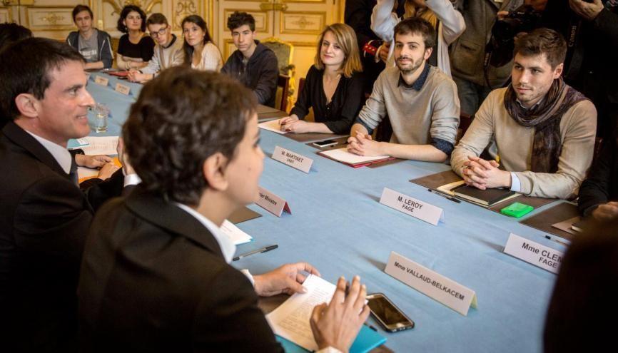 Les syndicats étudiants et lycéens ont été reçus le 11 avril 2016 à l'hotel Matignon sur le projet de loi El Khomri de réforme du Code du travail. //©HAMILTON/REA