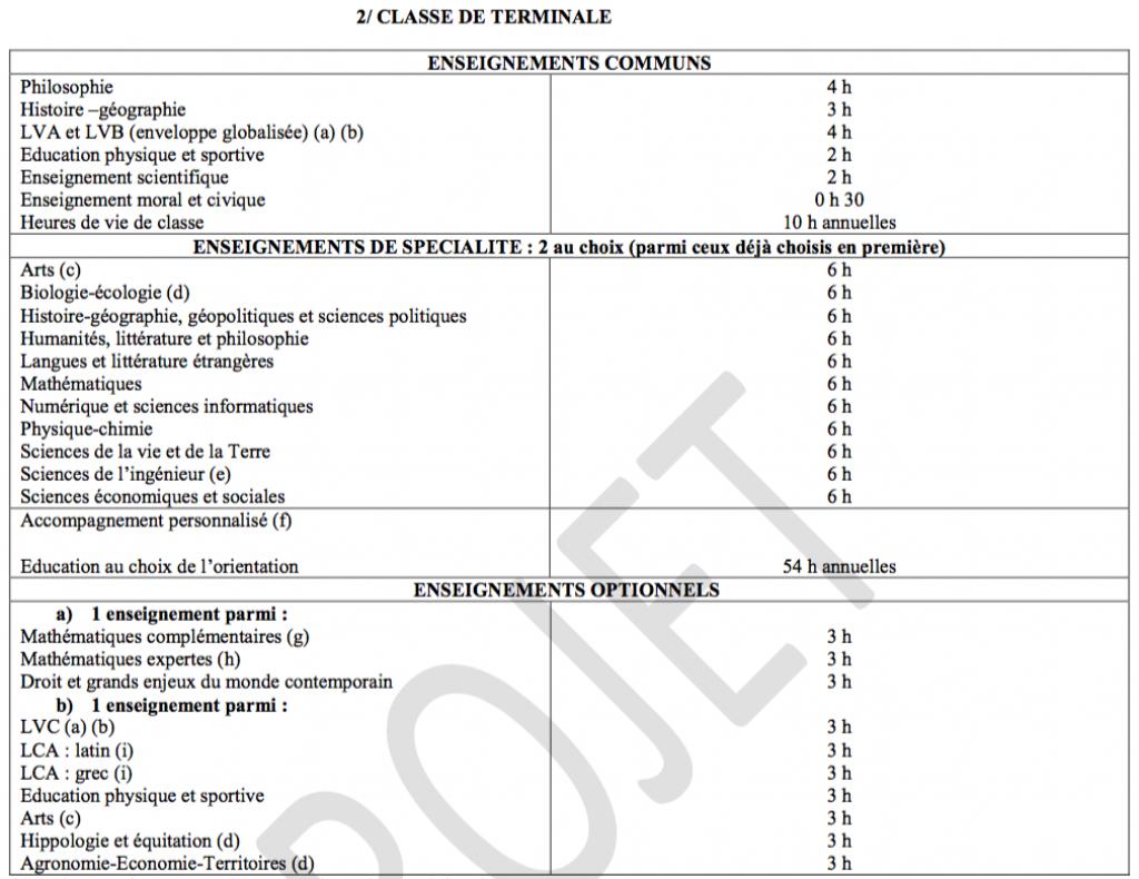 Les horaires prévus des différents enseignements pour la terminale générale. //©Ministère de l'Éducation nationale
