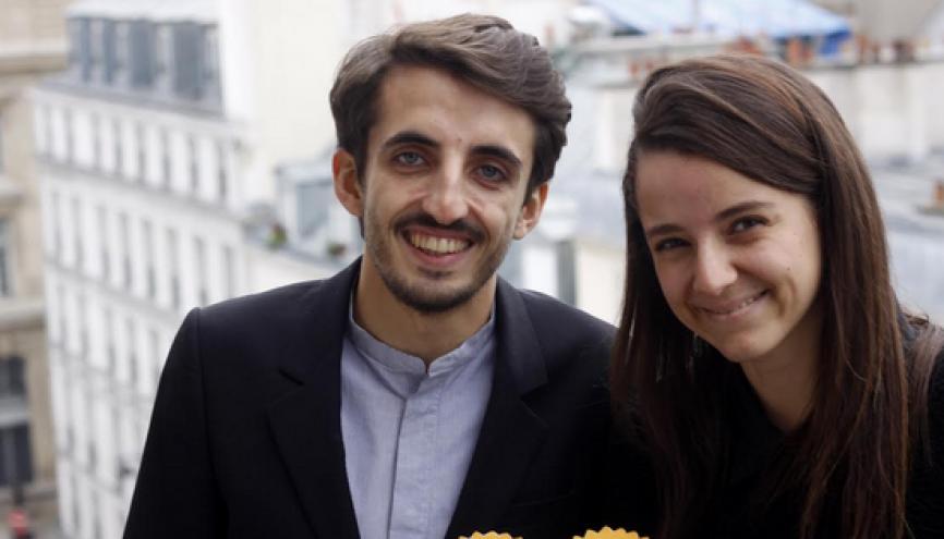 Éva Sadoun, 25 ans, co-fondatrice de la start-up 1001pact, avec Julien Benayoun, 26 ans. //©Photo fournie par les témoins