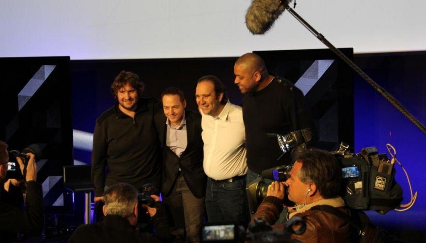 Nicolas Sadirac, Florian Bucher, Xavier Niel et Kwame Yamgnane lors de la conférence de presse sur le lancement de l'école 42, le 26 mars 2013. //©Camille Stromboni