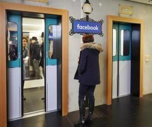 Ascenseur ou métro ? Dans chaque capitale où Facebook s'installe, la décoration des bureaux s'amuse avec les codes culturels locaux.