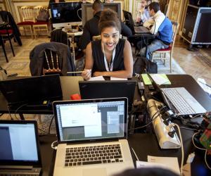 Hackathon organisé à l'Élysée lors de l'annonce de la grande école du numérique, en septembre 2015.