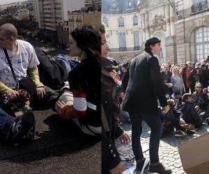 À Rennes, manifestation contre le CPE, en 2006, (à gauche) et contre le projet de loi Travail El Khomri, en 2016 (à droite).