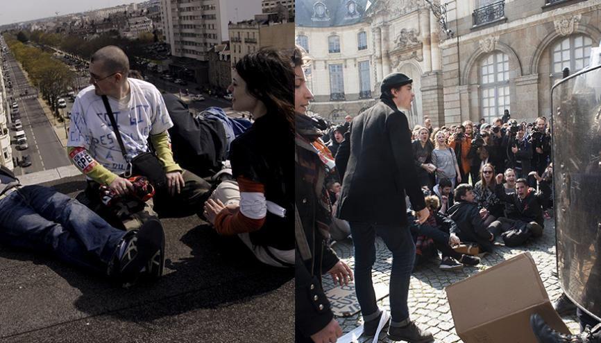 À Rennes, manifestation contre le CPE, en 2006, (à gauche) et contre le projet de loi Travail El Khomri, en 2016 (à droite). //©Jean Claude MOSCHETTI/REA