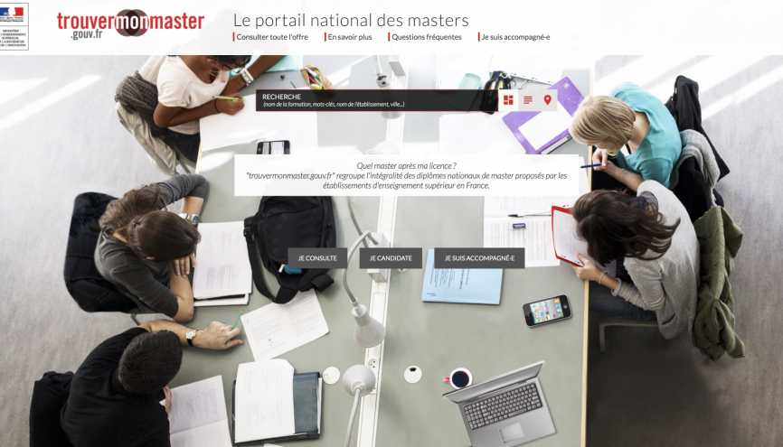 Le portail trouvermonmaster.gouv.fr recense près de 3.600 masters et 7.000 parcours. //©trouvermonmaster.gouv.fr