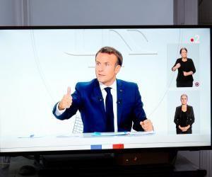 Emmanuel Macron lors de son interview, le 14 octobre 2020.