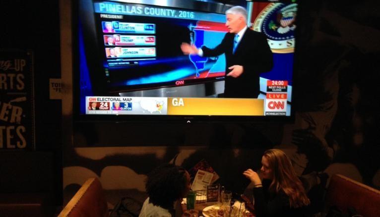Dans le bar sportif où la soirée de l'ABS a été prolongée, les étudiants gardent un œil constant sur les résultats des élections.