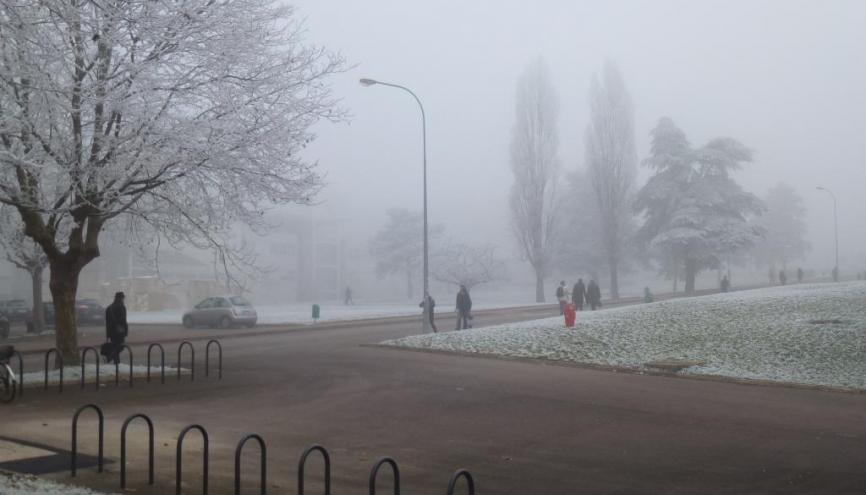 Le campus de l'UB sous la neige. //©Cécile Peltier