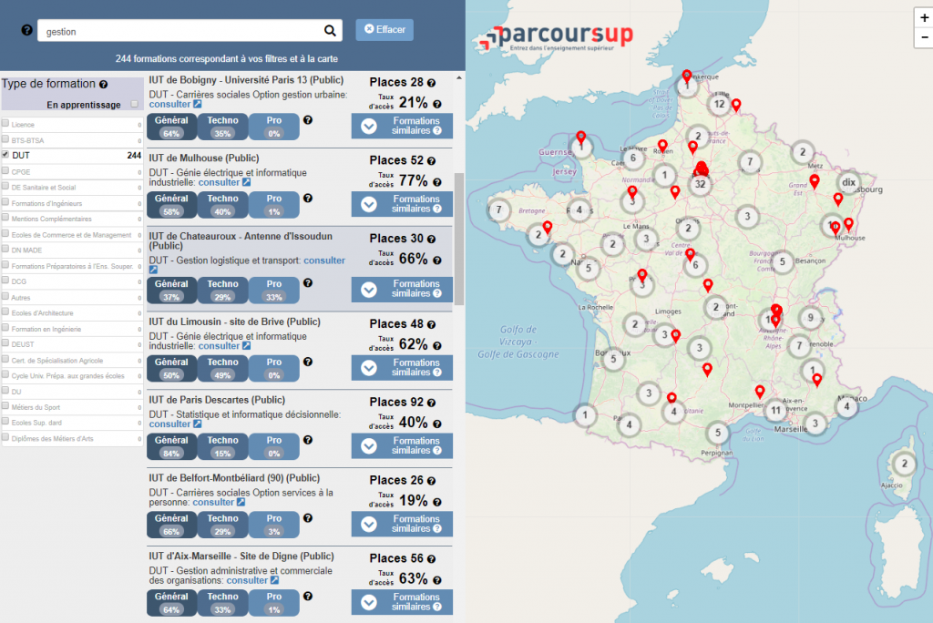 La carte interactive doit vous aider à trouver les formations qui vous conviennent en fonction des critères définis. //©Capture d'écran