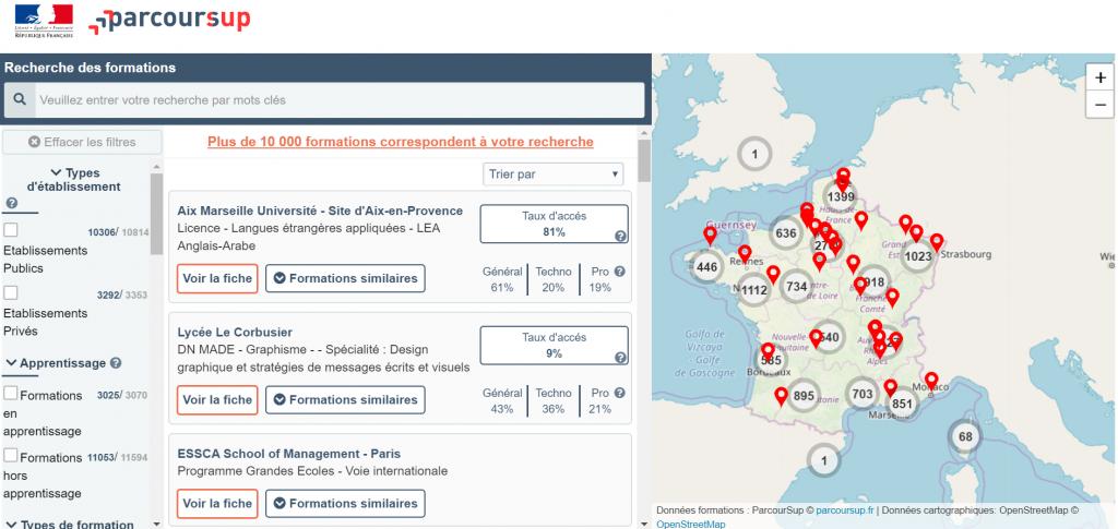 La carte interactive permet de chercher une formation selon une zone géographique définie. //©Capture d'écran