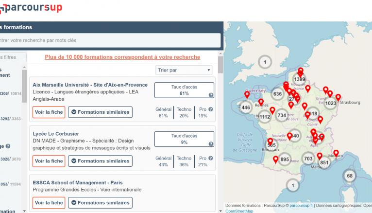 La carte interactive permet de chercher une formation selon une zone géographique définie.