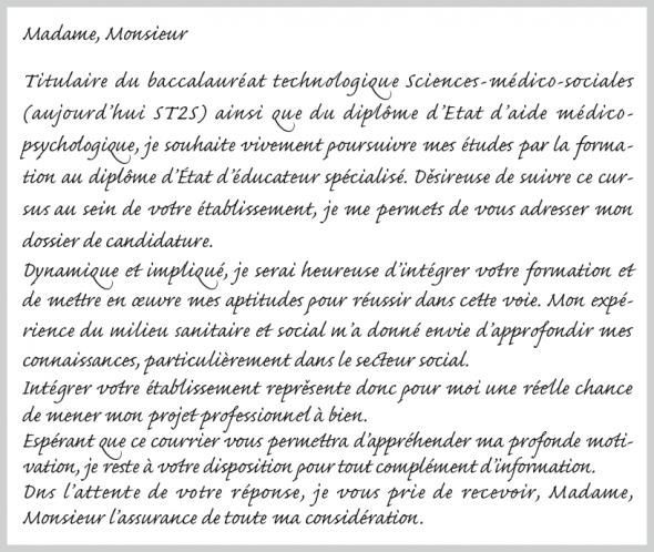 modele lettre de motivation formation moniteur educateur