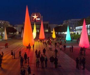 Le centre-ville de Brest où a lieu la Déambule, déambulation nocture rythmée par des animation musicales et artistiques.