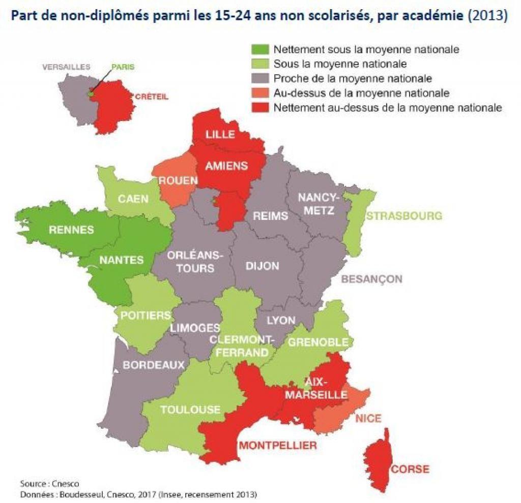 Les décrocheurs sont présents de façon majoritaire dans le nord et le sud-est de la France. //©Cnesco